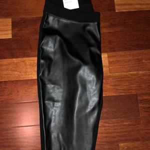 Power Stretch faux leather pants. 1/2  and half.